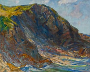Charles H. Woodbury, The Cliff, 1929, Oil. From the Permanent Collection of the Ogunquit Museum of American Art (OMAA)